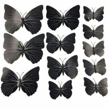 Bakı şəhərində ПВХ - 3D Бабочки с магнитом .  12 штук, декор на холодильник, стену и.