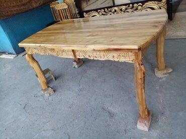 стол и стулья для гостиной в Кыргызстан: Колдо жасалган Стол 6 стул менен  Материал кара жыгачтан