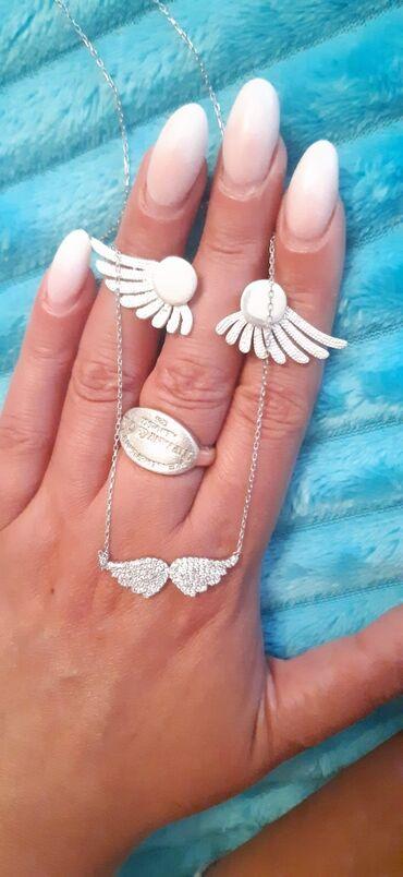 Nakit - Srbija: Set ogrlica i mindjuseMoze i odvojenoSrebroOgrlica, cena 2100 dinara