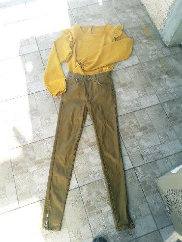 Pantalone zlatne - Srbija: Potpuno nove Denim voskirane pantalone. Placene 4000