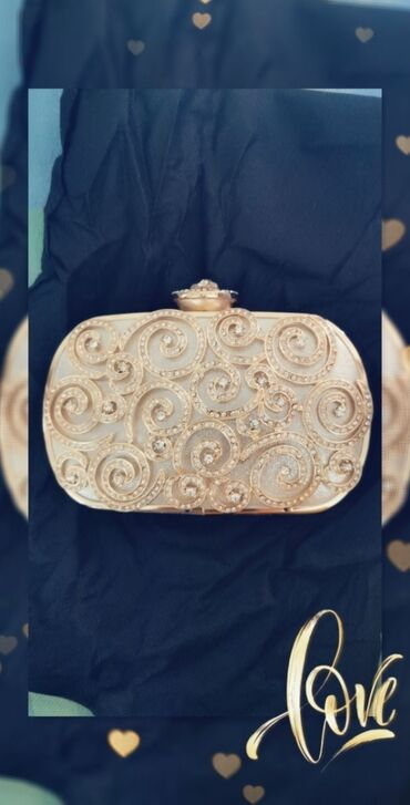 klac canta - Azərbaycan: Swarovski daşlarla, qızılı, rəngigetməyən,cəlbedici,elegant çanta