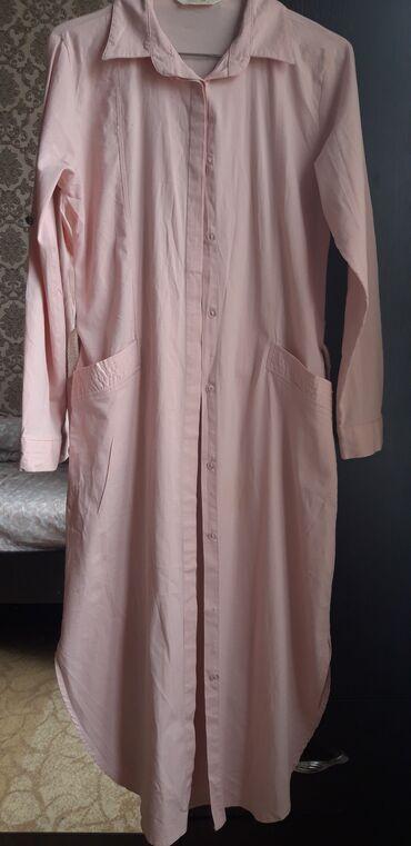 Летняя длинная рубашка-туника. Есть пояс. Персикового цвета. Размер-S