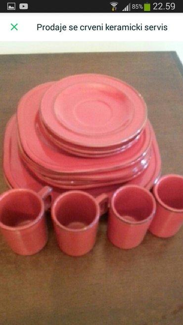 Prodaje se crveni keramicki servis tanjira i soljica sa crvenim - Crvenka - slika 2