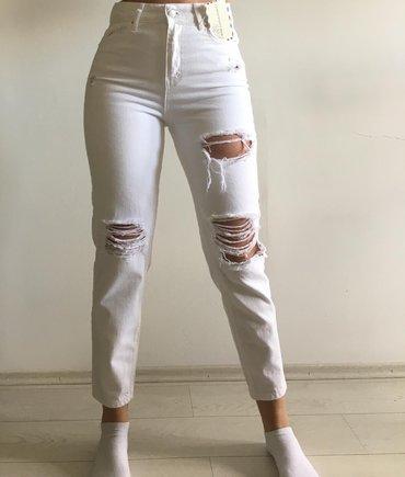 Pocepane moderne xs s - Srbija: Nikad nosene bele pocepane farmerke. Velicina je 28