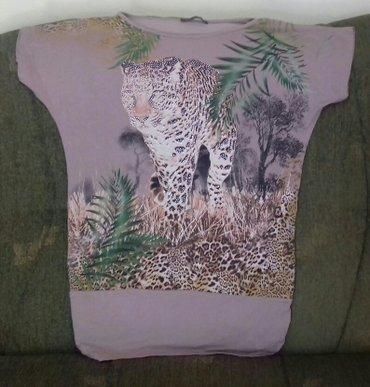 Braon sa - Srbija: Majica sa motivom leoparda,sa cirkonima,svetlo braon boje,velicina