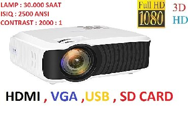 slayd mebelləri - Azərbaycan: Proyektor HD support FHD Super veziyyetde upakovkada proyektor, teze