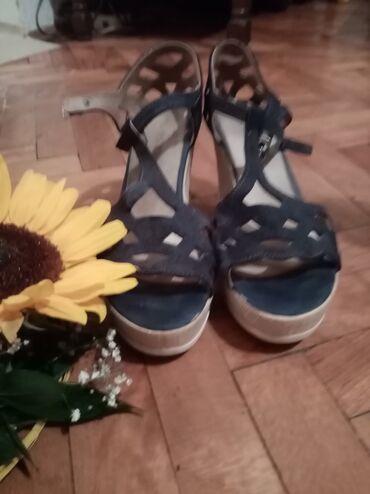 Teget sandalice na platformu. Udobne, lagane, letnje. Materijal podseć