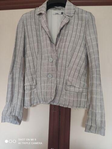 Пиджак лен светло серого цвета, 44 размер
