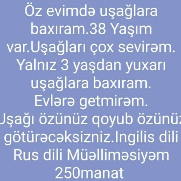 dayə işi axtarıram 2018 - Azərbaycan: Öz evimdə dayə işi axtarıram