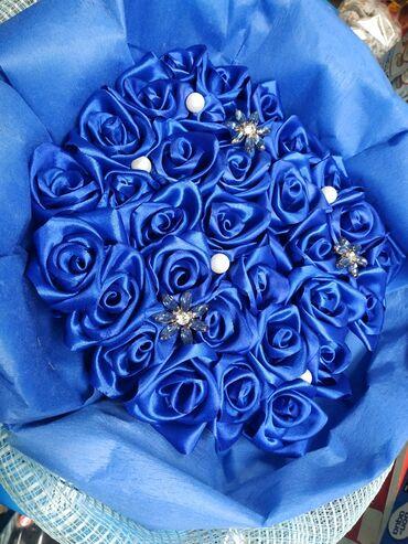 Нежнейшие синие розы из лент ручной работы! Очень милый и оригинальный