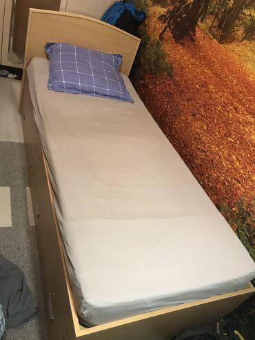 Односпальные кровати - Кыргызстан: Продаю кровать подростковую с матрасом лина ортопедическую, длина 195