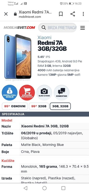 Elektronika - Ub: Upotrebljen Xiaomi Redmi 7A 32 GB crno