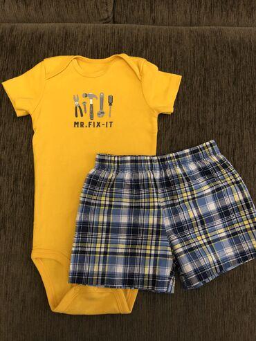 мужские шорты в Кыргызстан: Комплект боди и шорты фирмы Carter's. Размер 12-18 месяцев. Состояние