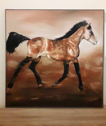 Χρυσό άλογο ο πίνακας είναι 100x100cm ζωγραφισμένος με λαδομπογιες