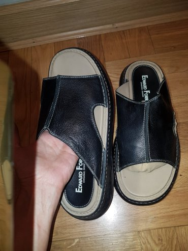 Muške Sandale i Japanke | Srbija: Edward Forrer kozne sandale - papuce crne muske broj 45