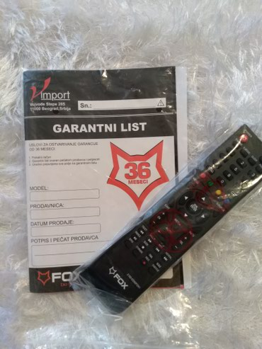 Elektronika - Prijepolje: Daljinski za fox led tv. Potpuno nov. Nikad upotrebljen. Bez mana i