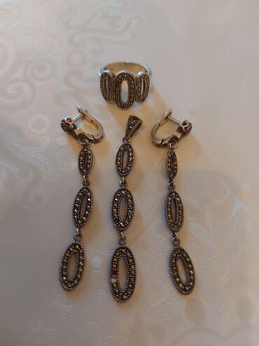 золото бишкек in Кыргызстан | НАБОРЫ УКРАШЕНИЙ: Серебро, комплект, кольца 18р, почти новый