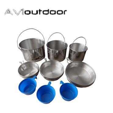 Другая посуда в Кыргызстан: Комплект посуды для пикника алюминиевый AV-OUTDOOR.Комплектация 9
