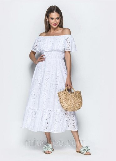 белое летнее платье в Кыргызстан: Летнее хлопковое платье. Размер S. Состояние нового.Зайдите в профиль