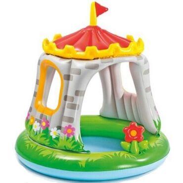 Детский надувной бассейн 122х122см «Крепость» с навесом, 68л, от 1 до