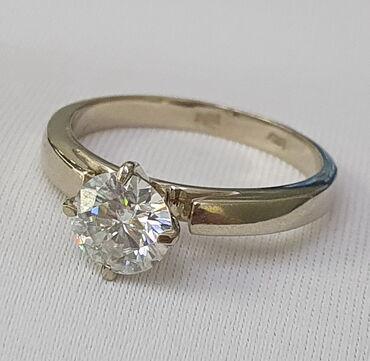 Кольцо из белого золота, 585 проба. Вставка бриллиант. Размер 17. Цена