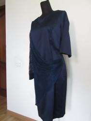 черно белое платье в пол в Кыргызстан: Распродажа платьев:1. Платье с драпировкой - синее - р.50, 54, красное