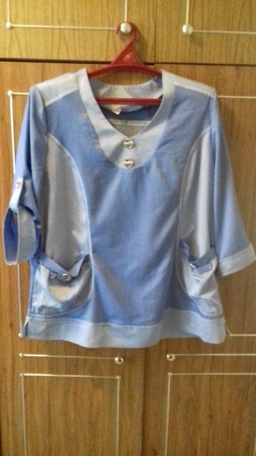 блузки с коротким рукавом в Кыргызстан: Блузка летняя голубая, рукав можно сделать на пуговицу или 3/4, размер