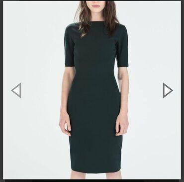 платье миди в Кыргызстан: Платье футляр Zara изумрудного цвета.Размер М.Плотный стрейч,хорошо