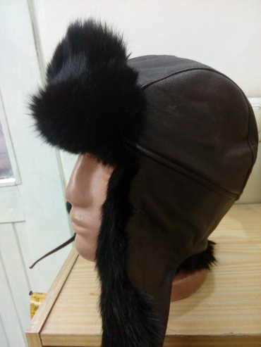 Ruska kapa pilotska od prirodnog krzna zeca tamno braon boje - Novi Pazar