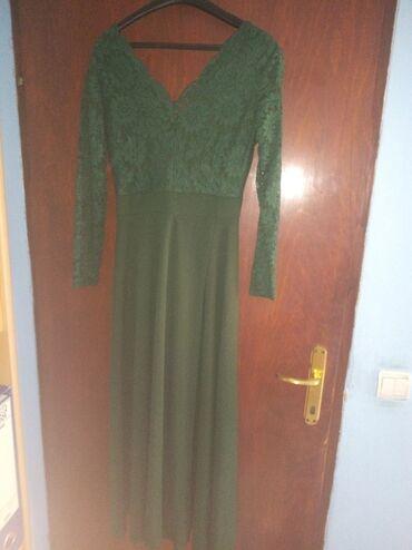 Duga haljina - Srbija: Nova maslinasto zelena duga haljina.Prelepo za blago punije osobe.Puno