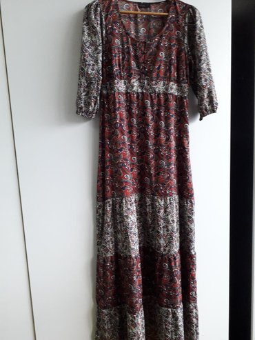 Duga haljina Vero moda, sarena, bez elastina, velicina M. Gore preko