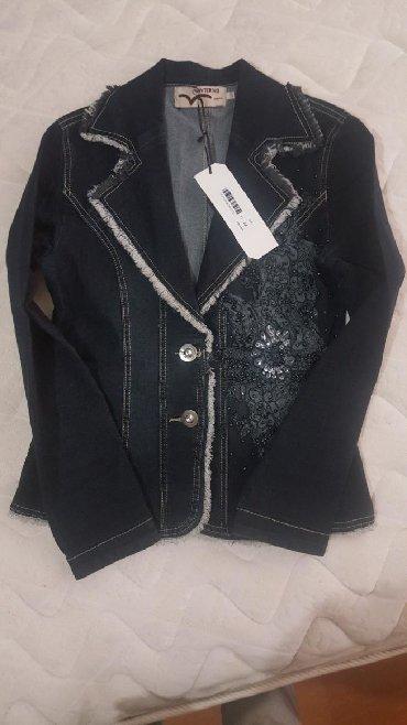 синий пиджак женский в Кыргызстан: Джинсовый пиджак с элементами ручной работы Турция размер М цвет темно