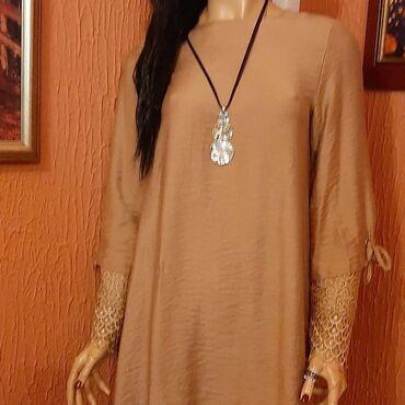 Haljina st - Srbija: Nova saten haljina boje starog zlata sa cipkom na rukavima vel40,42