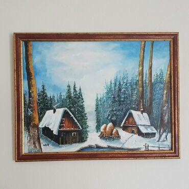 AKCIJA! Ulje na lesonitu Zima, predivno delo. Dimenzije slike sa ramom
