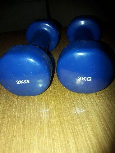 Težine - Srbija: Plavi plastificirani super na dodir Tegovi 2x 2kg malo koristeno