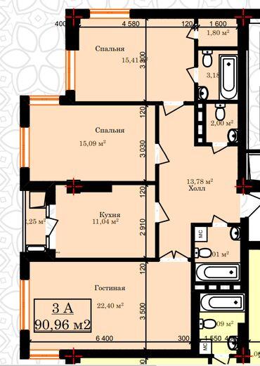 Продажа квартир - 9 - Бишкек: Продается квартира: Госрегистр, 3 комнаты, 89 кв. м
