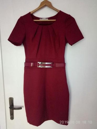 Bordo haljina sa kaišem, prati liniju tela, vel. 36/S - Zrenjanin