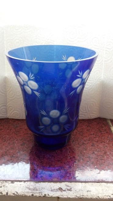 - Azərbaycan: 18 sm vaza, Avropa, kohne, goy vintaj kristal