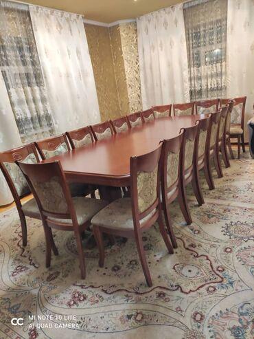 стол и стулья для гостиной в Кыргызстан: Стол 120×4 м.Раскладной,чистое дерево,ножки гусиные