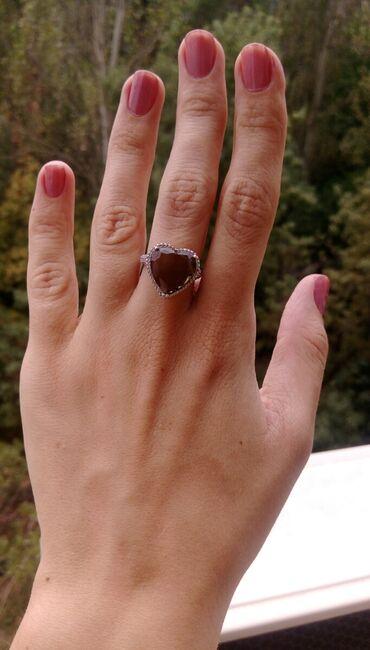 Срочно, серебряное кольцо с раухтопазом и цирконами. Размер 17.5