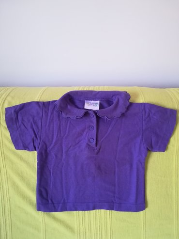 Dečiji Topići I Majice | Vranje: Pamučna majica kratak rukav sa kragnicom ljubičaste boje za 1-2