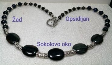 Torba sirina cm - Srbija: Ogrlica cca 52 cmPoludrago kamenje Sokolovo oko,žad i zlatni opsidijan