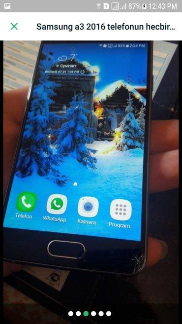 Sumqayıt şəhərində Samsung a3 2016 ideal veziyetdedir. Ekranin susesinde asagda cardaq va