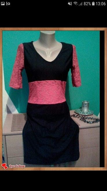 Crni sa cipkom - Srbija: Haljina,sivena,crna sa crvenom cipkom,uz telo,sa elastinom,jednom
