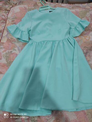 Классное вечернее платье в корейском стиле. Цвет голубой. Размер