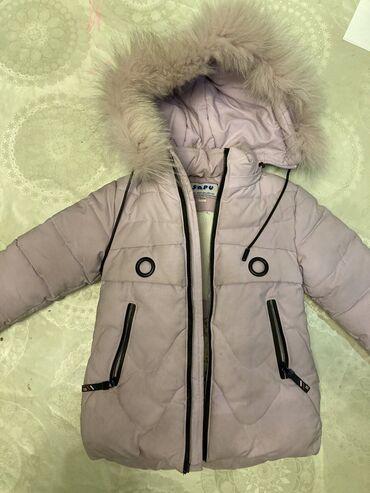 Очень теплая зимняя удлиненная куртка для девочки 3-4 лет, рост 92 см