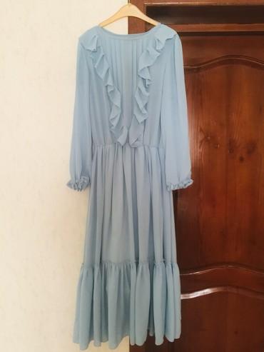 вязаное голубое платье в Кыргызстан: Платье шифоновое нежно-голубого цвета