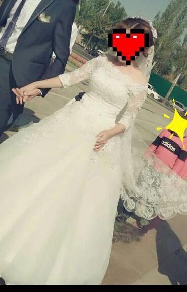 свадебные платья хиджаб в Кыргызстан: Свадебный койнок+фата+ туфли (36 размер, молочный цвет) прокат. Цвет