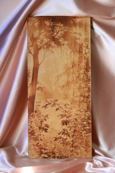 Картина из дерева, антиквариат 55×25см