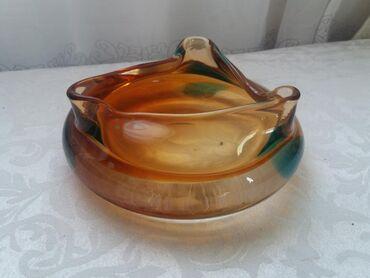 Антикварные вазы - Кыргызстан: Пепельница вазочка цветное стекло. Чехословакия. Винтаж